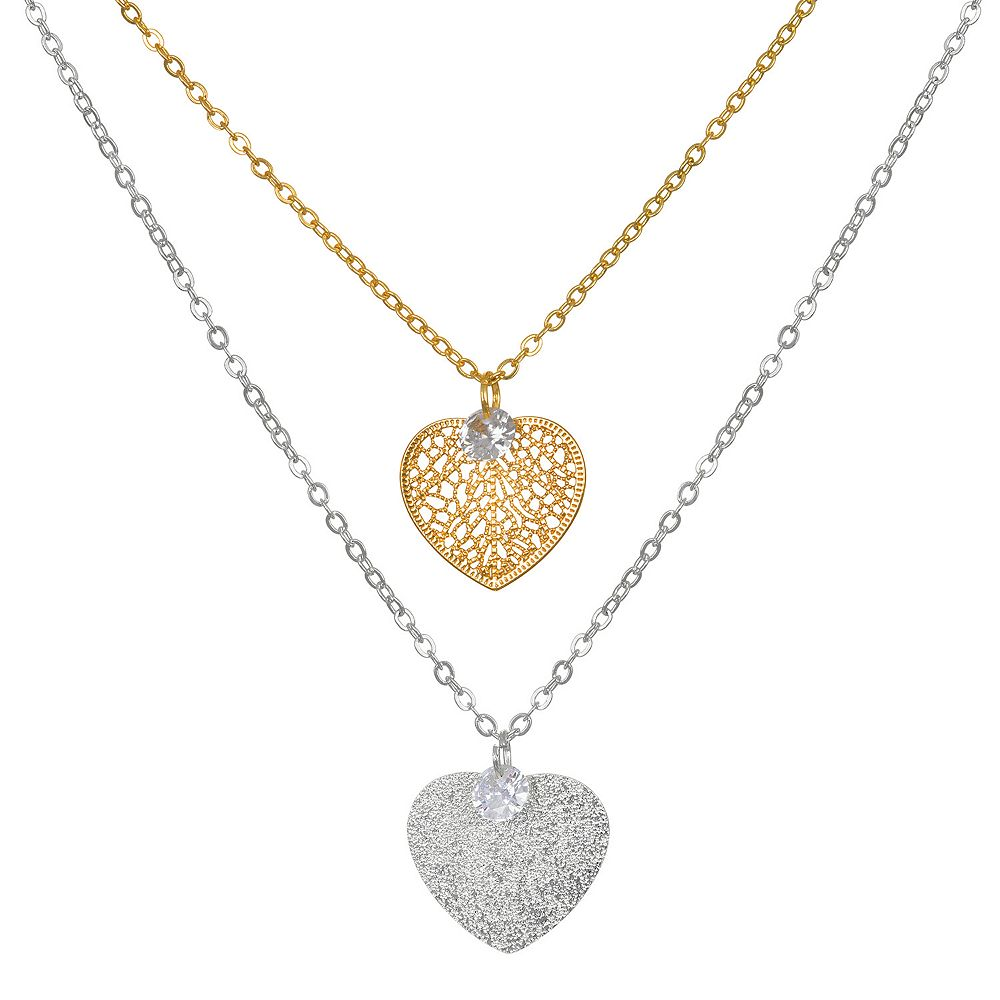 LC Lauren Conrad Filigree Heart & Cubic Zirconia Pendant Necklace Set