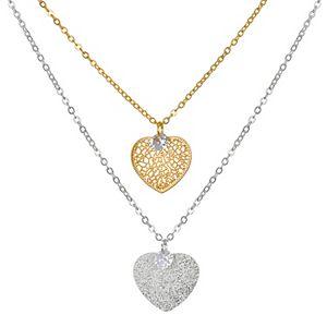 LC Lauren Conrad Filigree Heart & Cubic Zirconia Pendant Necklace Set
