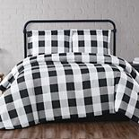 Truly Soft Everyday Buffalo Plaid Black Duvet Set