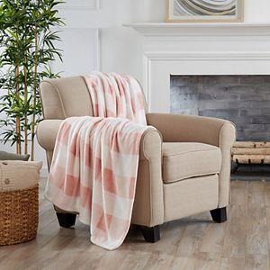 Great Bay Home Buffalo Check Oversize Velvet Plush Throw Blanket