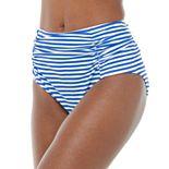 Women's Nicole Miller Striped High-Waist Hipster Swim Bottoms