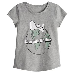 "Family Fun Toddler Girl Peanuts Snoopy ""Love Your Mother"" Earth Graphic Tee"