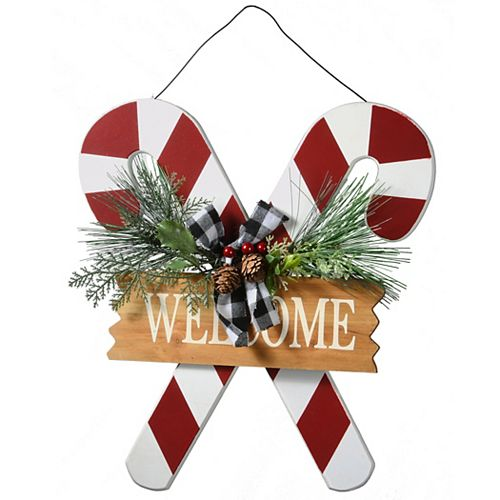 National Tree Company Candy Cane Holiday Welcome Wall Sign