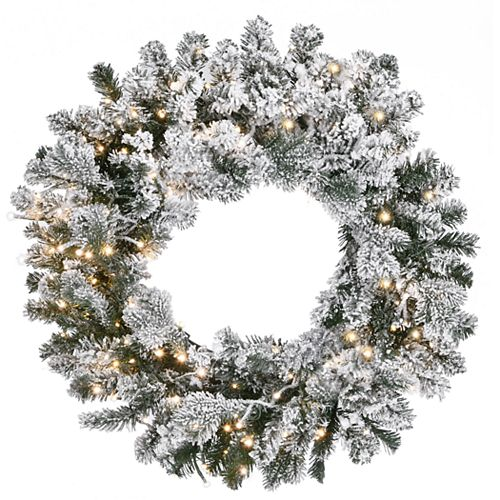 National Tree Company 24-in. LED Snowy Sheffield Spruce Artificial Wreath