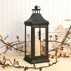 LumaBase Metal Lantern & LED Candle 2-Piece Set