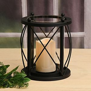 LumaBase Metal & Glass Hurricane With Light-Up Candle