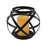 LumaBase Banded Metal Lantern With Light-Up Candle