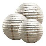 LumaBase Multi Size Paper Lanterns - Set of 6 (Metallic Silver)