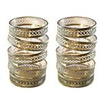 Metal and Glass Hurricanes with Fairy Lights - Set of 2 (Gold)
