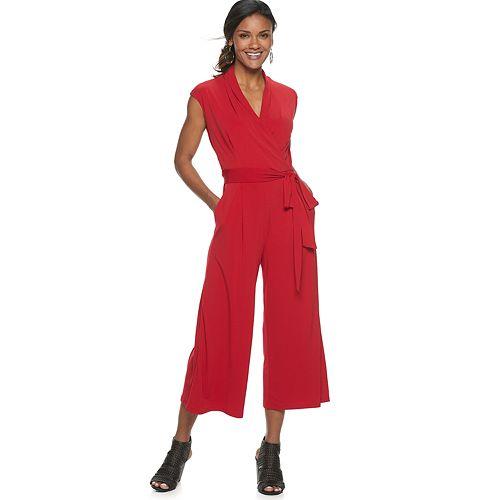 Petite Suite 7 Surplice Wide-Leg Crop Jumpsuit