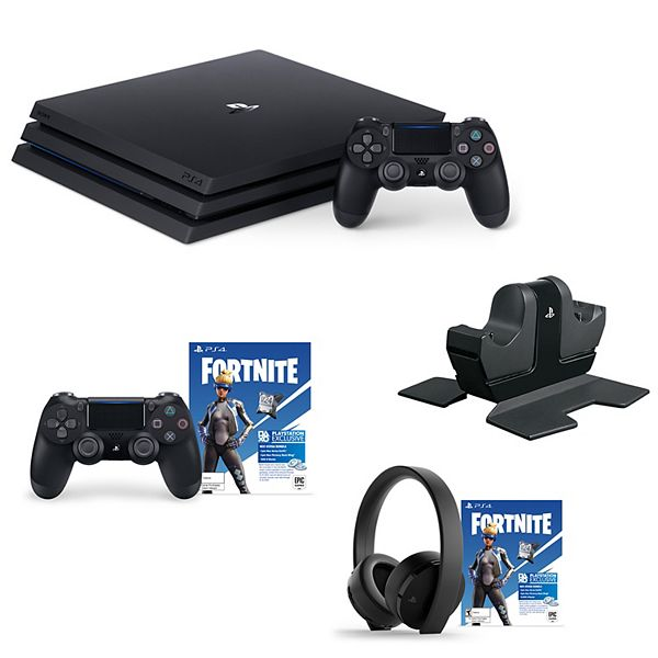 Playstation 4 Pro 1tb Console Bundle With Charging Dock Ps4 Wireless Gold Headset Extra Controller