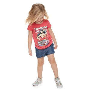 """Family Fun Toddler Girl Mommy & Me DC Comics """"Training To Be Wonder Woman"""" Graphic Tee"""