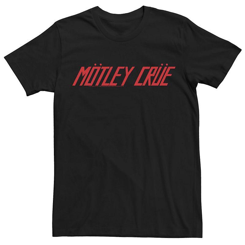 Men's Motley Crue Italic Red Text Logo Tee, Size: XS, Black