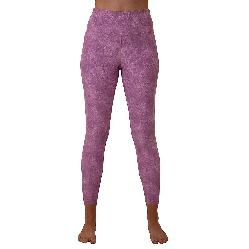 Feel comfortable and look great in these women\'s Spalding printed leggings. Feel comfortable and look great in these women\'s Spalding printed leggings. Moisture-wicking technology keeps you cool and dry Jersey construction FIT & SIZING 26-in. inseam Compressive fit Elastic waistband FABRIC & CARE Polyester, spandex Machine wash Imported Size: Large. Color: Purple. Gender: female. Age Group: adult. Pattern: vintage wash.