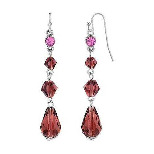 1928 Silver Tone Purple Linear Drop Earrings