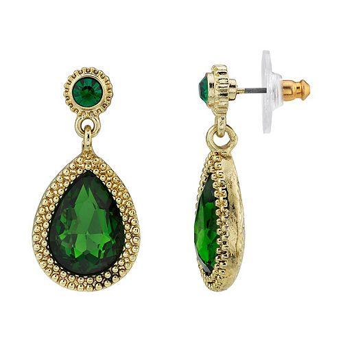 1928 Gold-Tone Green Faceted Crystal Teardrop Earrings