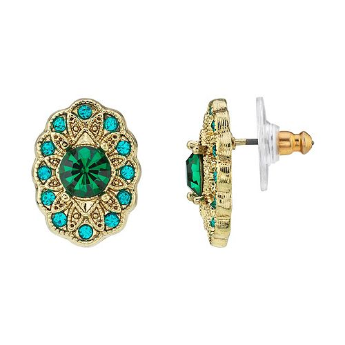1928 Gold-Tone Green & Blue Zircon Color Crystal Oval Button Earrings