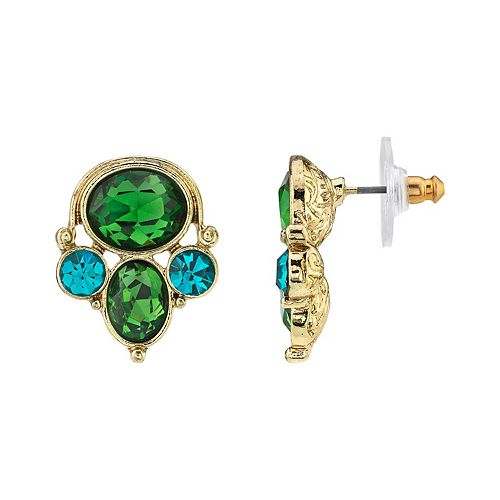 1928 Gold-Tone Green & Blue Zircon Color Cluster Earrings