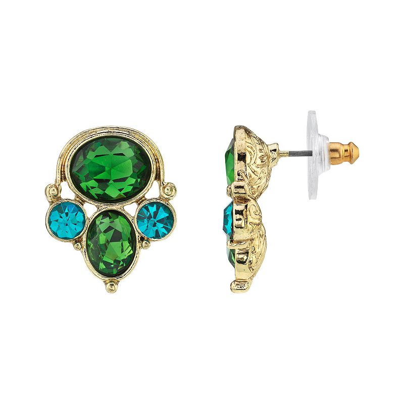 1928 Gold-Tone Green & Blue Zircon Color Cluster Earrings, Women's