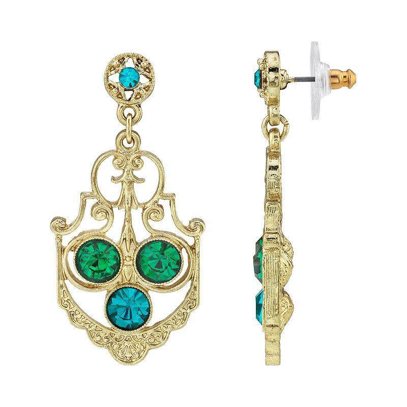 1928 Gold-Tone Blue Zircon Color & Green Crystal Drop Earrings, Women's