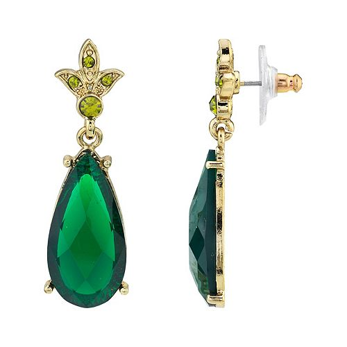 1928 Gold-Tone Green & Olivine-Color Crystal Teardrop Earrings