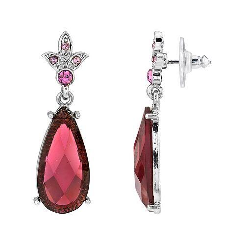 1928 Silver-Tone Purple Crystals Teardrop Earrings