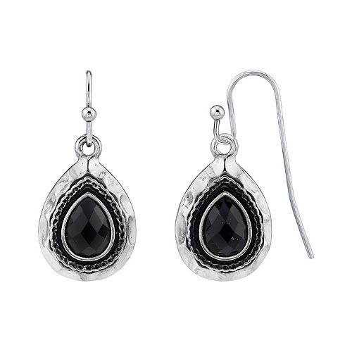 1928 Silver-Tone Black Teardrop Earrings