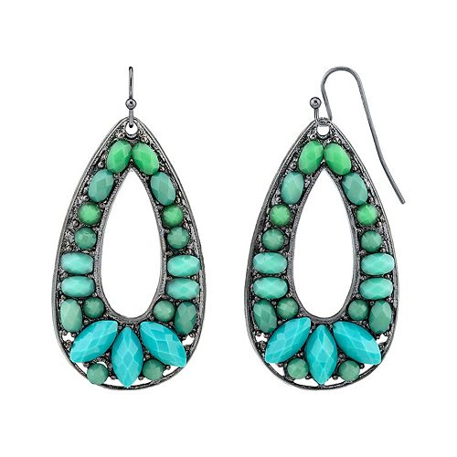 1928 Black-Tone Turquoise Color Open Pear-Shaped Drop Earrings