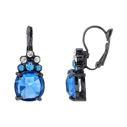 1928 Black-Tone Blue Crystal Drop Earrings