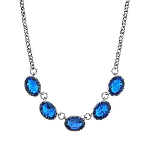 1928 Black-Tone Sapphire Blue Color Oval Collar Necklace