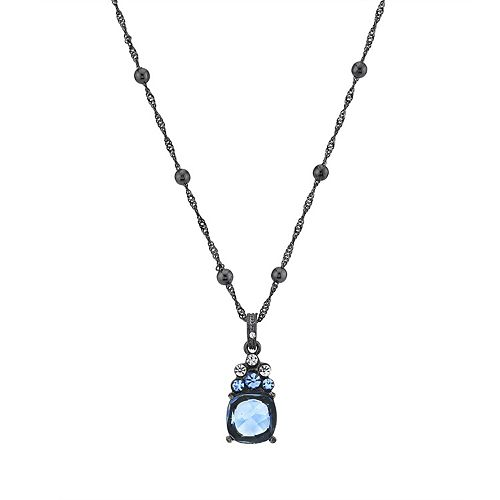 1928 Black-Tone Crystal Blue Drop Necklace