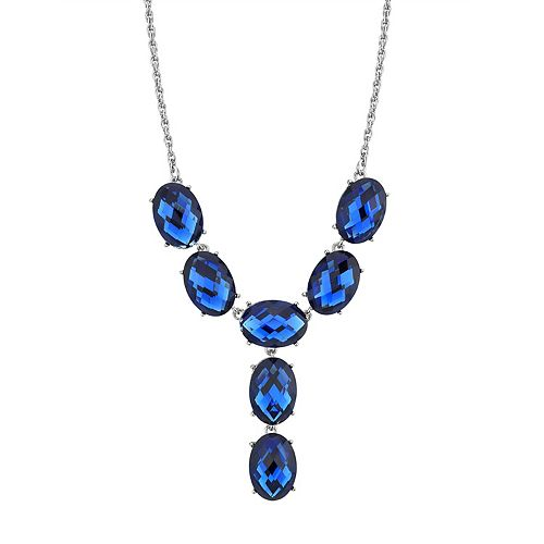 1928 Silver-Tone Blue Oval Faceted Y-Neck Drop Necklace