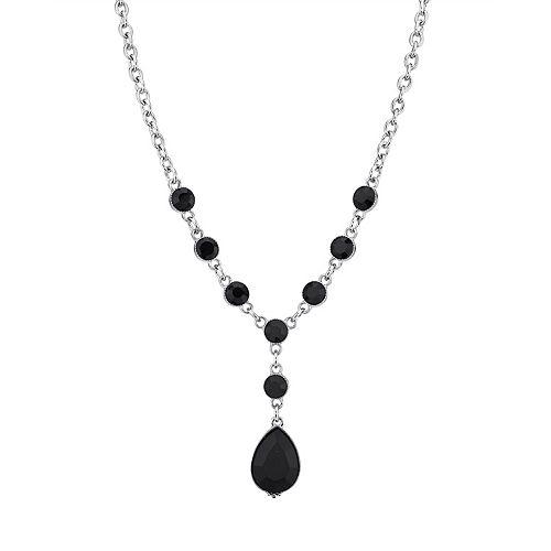 1928 Silver-Tone Black Teardrop Y-Necklace