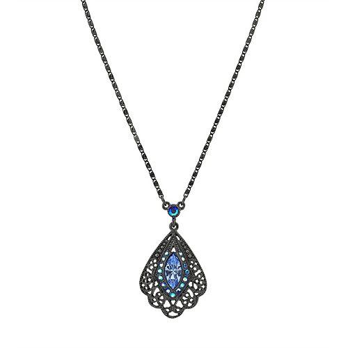 1928 Jet Tone Sapphire Color Filigree Necklace