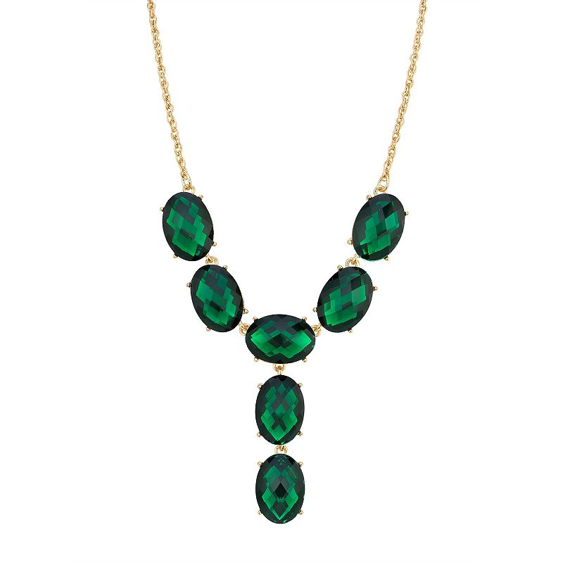 1928 Gold-Tone Green Oval Faceted Y-Neck Drop Necklace, Women's
