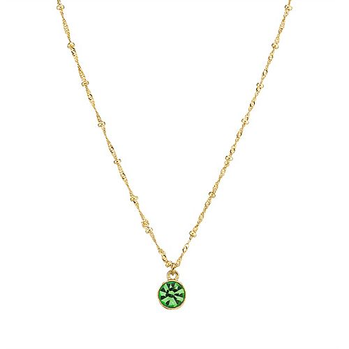 1928 14k Gold-Dipped Peridot Green Pendant Necklace