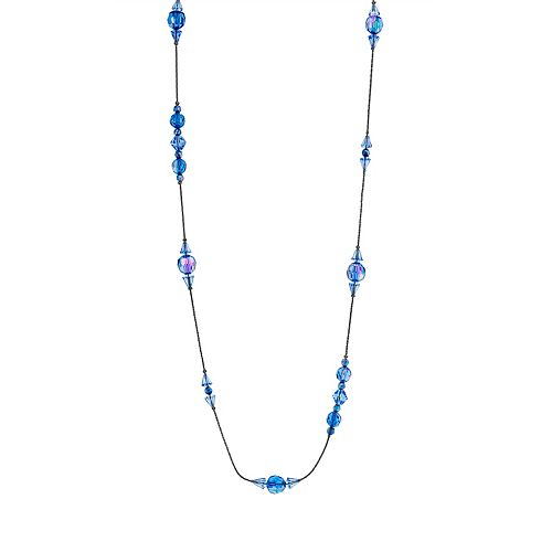 1928 Jet Sapphire Blue Long Beaded Necklace