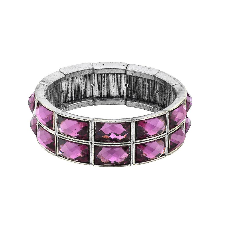 1928 Silver-Tone Amethyst Stretch Bracelet, Women's, Purple