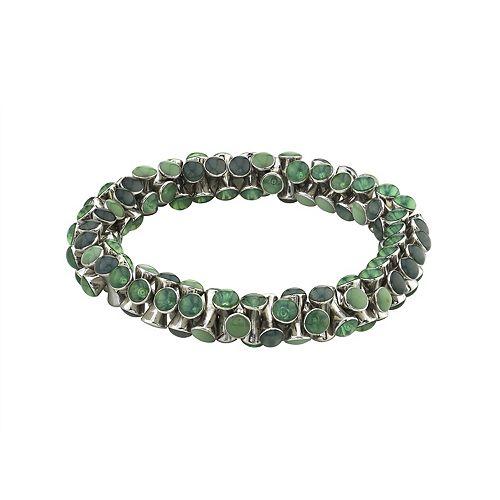 1928 Silver-Tone Blue Turquoise Stretch Bracelet