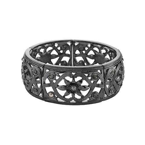 1928 Hematite-Tone Black Diamond Flower Stretch Bracelet
