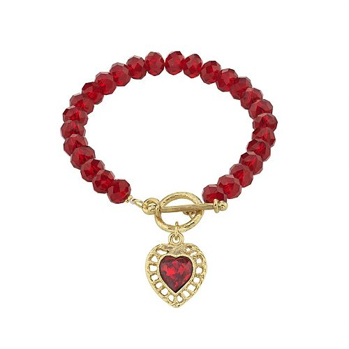1928 Gold-Tone Red Beaded Heart Charm Toggle Bracelet