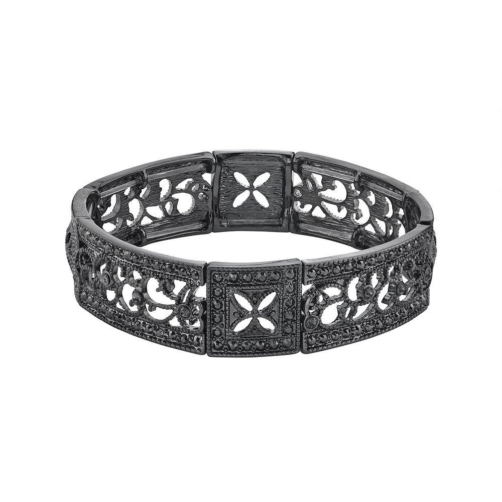 1928 Black-Tone Black Diamond Square Filigree Stretch Bracelet