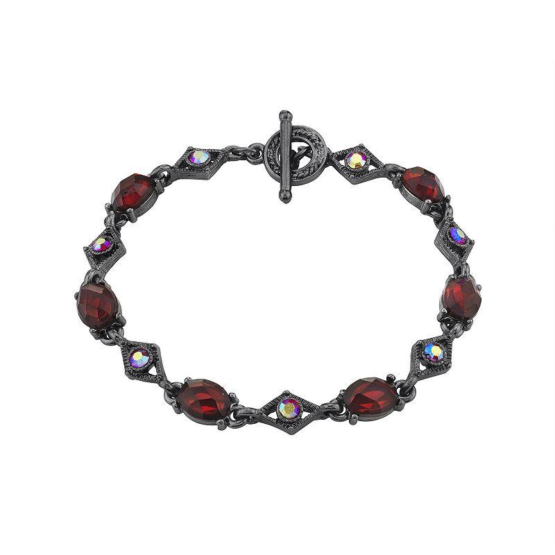 1928 Black Tone Red Crystal Link Bracelet, Women's