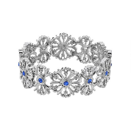 1928 Silver Tone Simulated Crystal Blue Floral Stretch Bracelet
