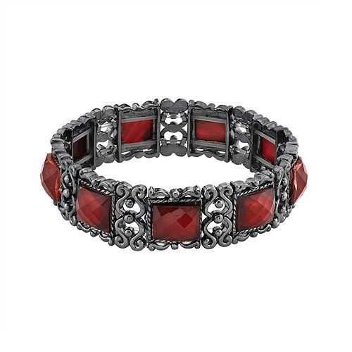 1928 Black-Tone Red Rectangle Simulated Stone Stretch Bracelet