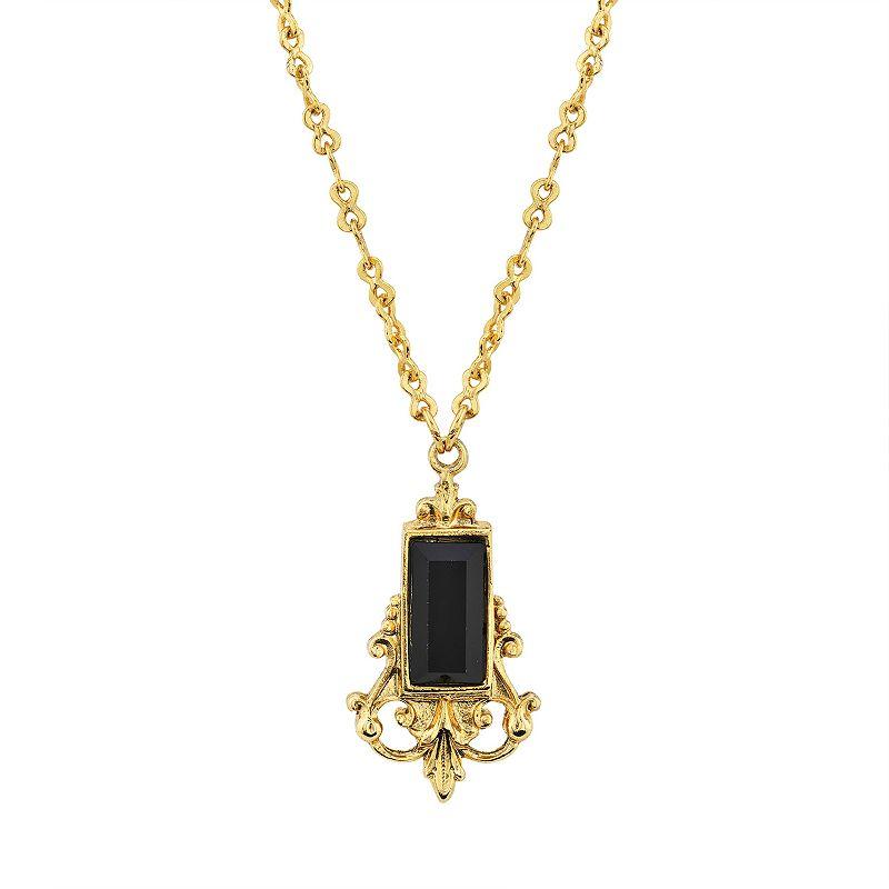 1928 Gold Tone Black Simulated Stone Filigree Pendant Necklace, Women's