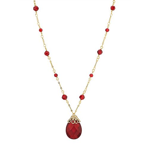 1928 Gold Tone Red Simulated Crystal Briolette Pendant Necklace