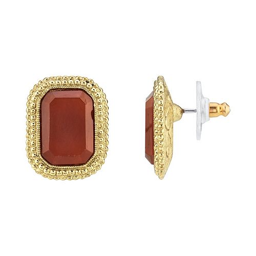 1928 Gold Tone Dark Red Simulated Crystal Stud Earrings