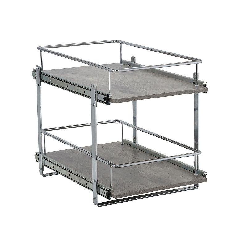Household Essentials Faux Concrete 2-Tier Cabinet Organizer, Grey