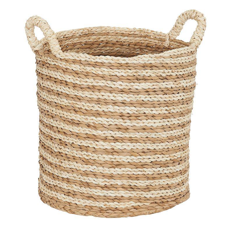 Household Essentials Large Ginger Cream Swirl Basket, White